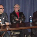 Cory Doctorow, Rudy Rucker, and Terry Bisson at the panel discussion following the readings.