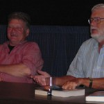 Terry Bisson and Gregory Benford during the panel discussion.