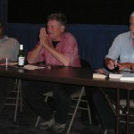 Paul Park, Terry Bisson, and Gregory Benford during the panel discussion.