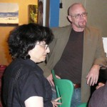 Lisa Goldstein and Tad Williams in the Variety lounge.