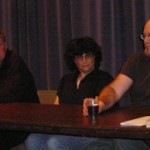 Terry Bisson, Lisa Goldstein, and Tad Williams at the panel discussion.