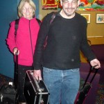 Rick Kleffel and his wife, Claire, arrive with the podcasting equipment.